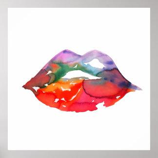 Watercolor rainbow lips makeup branding poster
