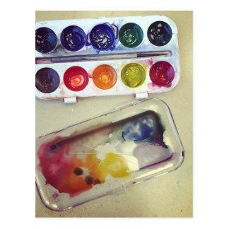 Watercolor Rainbow Paint Palette Postcard