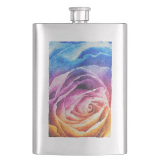 Watercolor Rainbow Rose Flasks