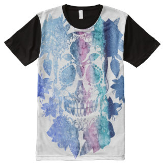 watercolor rainbow skull tattoo style All-Over print T-Shirt