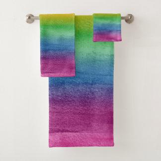 Watercolor Rainbow Stripes Bath Towel Set