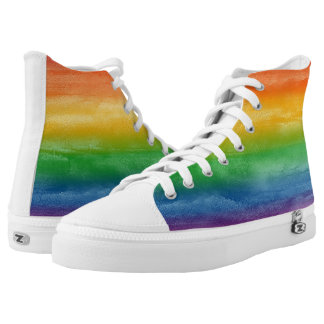 Watercolor Rainbow Stripes High Tops