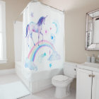 Watercolor Rainbow Unicorn Shower Curtain