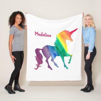 Watercolor Rainbow Unicorn Silhouette Personalized Fleece Blanket