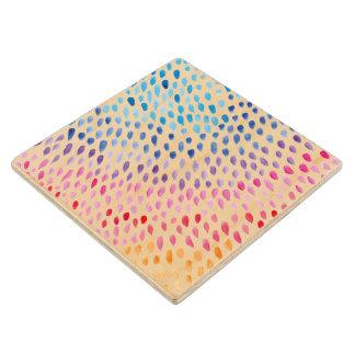 Watercolor Rainbow Wood Coaster