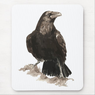 Watercolor Raven Bird & Animal Art Mouse Pad