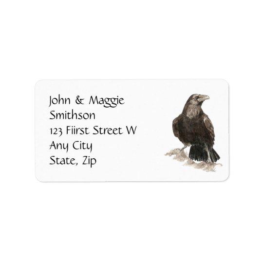 Watercolor Raven Bird Nature Custom Address Label