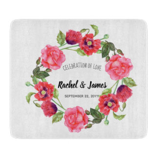 Watercolor Red and Pink Flowers Wreath Design Cutting Board