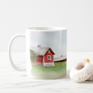 Watercolor Red Barn Classic Coffee Mug