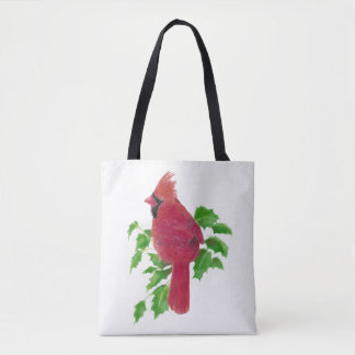 Watercolor Red Cardinal Bird in Holly Christmas Tote Bag