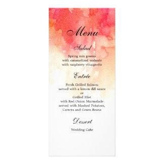 Watercolor red dinner menu. Coral menu party
