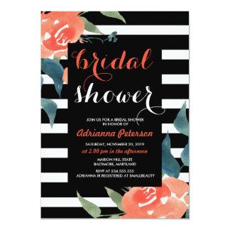 Watercolor Red Floral Black Stripes Bridal Shower Card