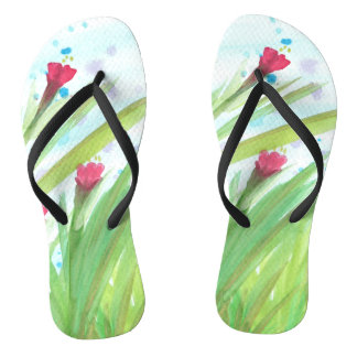 Watercolor Red Floral Thongs
