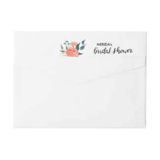 Watercolor Red Flowers Chic Bridal Shower Script Wrap Around Label
