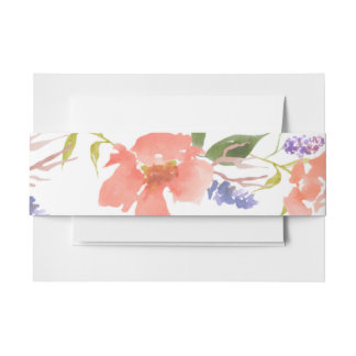 Watercolor Red Flowers Chic Invitation Belly Band