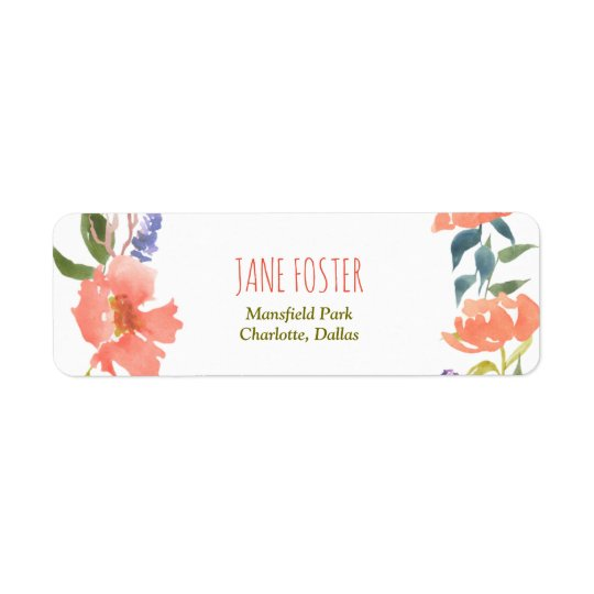 Watercolor Red Flowers Chic Return Address Label