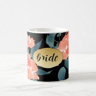 Watercolor Red Flowers Faux Gold Foil Bride Script Coffee Mug