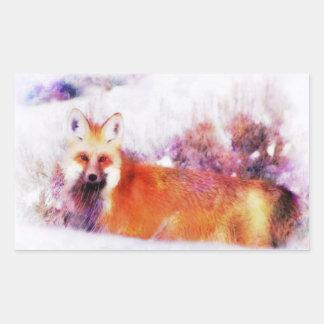 Watercolor Red Fox Resting Rectangular Sticker