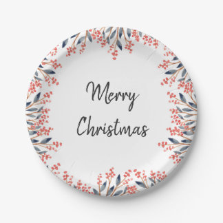 Watercolor Red Holiday Party Winter Berries Leaves Paper Plate