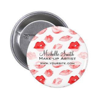 Watercolor red lips pattern makeup branding 6 cm round badge