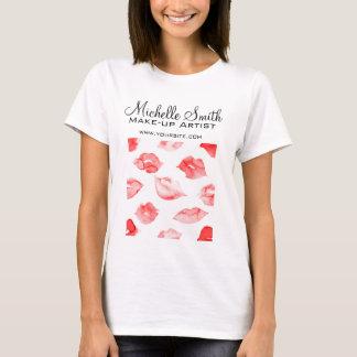 Watercolor red lips pattern makeup branding T-Shirt