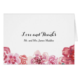 Watercolor Red Pink Rose Frame Thank You Card