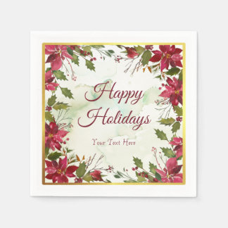 Watercolor Red Poinsettia with Faux Gold Trim Disposable Serviettes