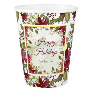 Watercolor Red Poinsettias with Faux Gold Trim Paper Cup