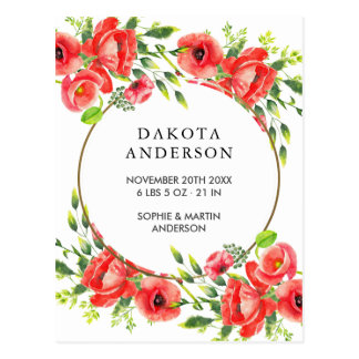 Watercolor Red Poppies Birth Announcement Postcard