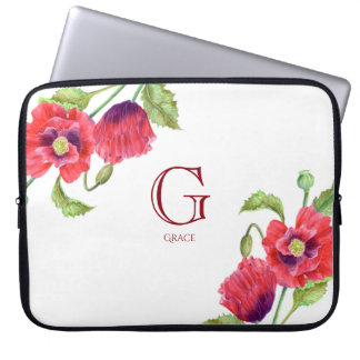 Watercolor Red Poppies Botanical Floral Monogram Laptop Sleeve