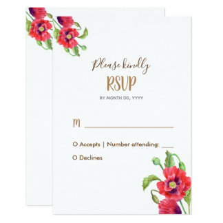 Watercolor Red Poppies Floral Art Wedding RSVP Card