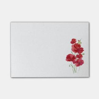 Watercolor Red Poppies Flowers Hummingbird Bird Fl Post-it Notes