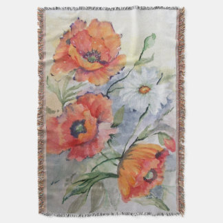 Watercolor red poppies throw blanket