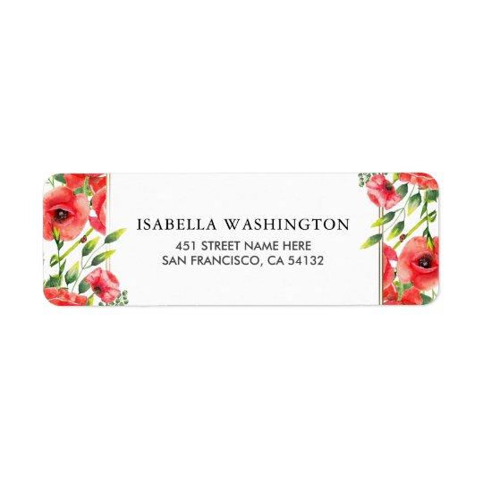 Watercolor Red Poppies Wedding Return Address Label