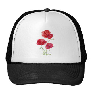 Watercolor Red Poppy Flower Floral Painting Cap