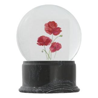 Watercolor Red Poppy Garden Flower Snow Globe