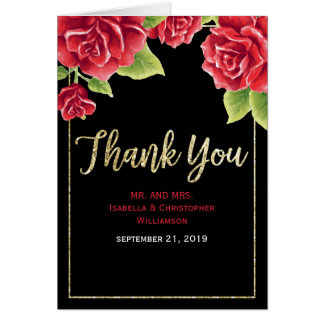 Watercolor Red Rose Black & Gold Glitter Thank You Card