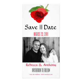 Watercolor Red Rose - Save the Date Photo Postcard