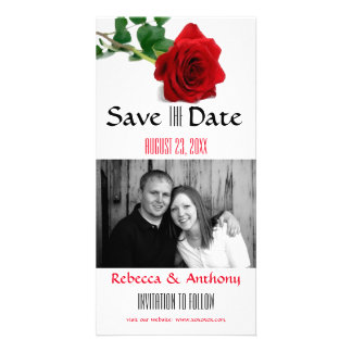 Watercolor Red Rose - Save the Date Photo Postcard Photo Greeting Card