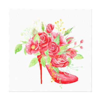 Watercolor Red Rose Shoe Canvas Print