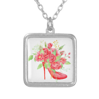 Watercolor Red Rose Shoe Silver Plated Necklace