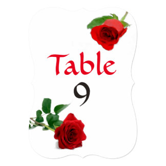 Watercolor Red Rose - Table Numbers