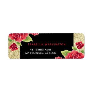 Watercolor Red Roses Black & Gold Glitter Return Address Label