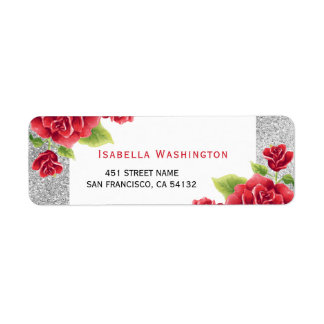 Watercolor Red Roses & Silver Glitter Return Address Label