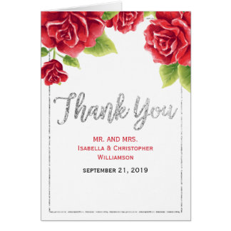 Watercolor Red Roses & Silver Glitter Thank You Card
