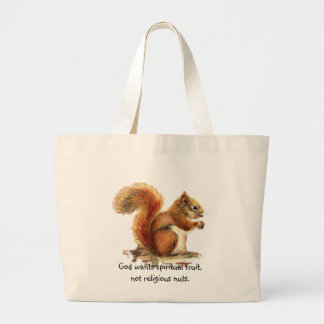 Watercolor Red Squirrel, Funny Quote Jumbo Tote Bag