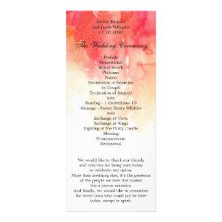 Watercolor red wedding program. Coral ceremony Rack Card