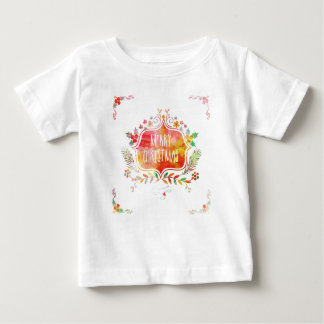 Watercolor Retro Merry Christmas Baby T-Shirt