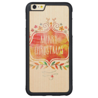 Watercolor Retro Merry Christmas Carved Maple iPhone 6 Plus Bumper Case