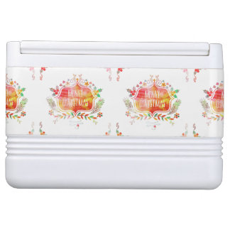 Watercolor Retro Merry Christmas Cooler